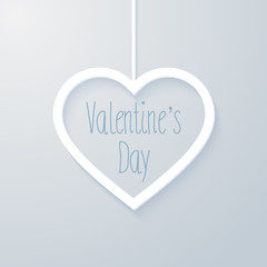 Valentines day card with hanging heart.