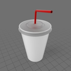 Paper cup with lid and straw