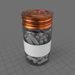 Pill bottle filled with capsules