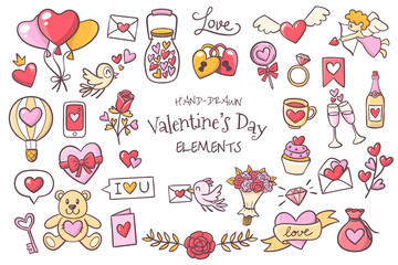 Set of cute hand drawn elements about love. Beautiful design elements isolated on white. Happy Valentine's Day background. EPS 10 vector illustration.