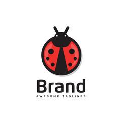 Ladybug is an arthropod logo vector,.The insect beetle, ladybug icon and logo style vector symbol stock
