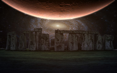 Wall Mural - Stonehenge an ancient prehistoric stone monument with night sky and Planet, Wiltshire, UK. (Elements of this image furnished by NASA)