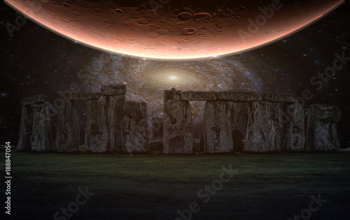 Wall mural Stonehenge an ancient prehistoric stone monument with night sky and Planet, Wiltshire, UK. (Elements of this image furnished by NASA)