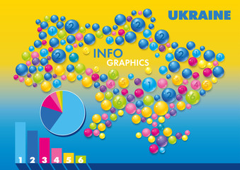 Vector Ukraine map_colored circles spheres bulky balls, bubbles, vitamins