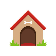 Dog house isolated on white background. Vector stock.
