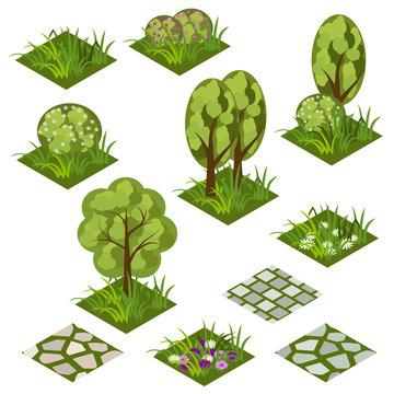 Garden landscape isometric game asset