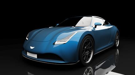 blue sports car on black background
