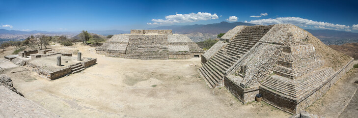 Panoramic view of ancient ruins on Monte Alban, Oaxaca, Mexico