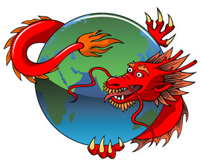 Chinese dragon entwining Earth, vector illustration