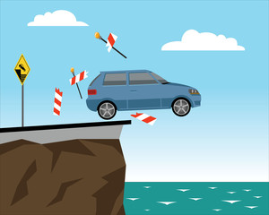 car falls of the cliff braking road barrier