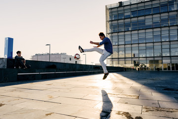 Man performing trick with ball