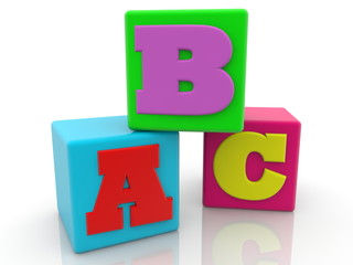 Colorful cubes with letter concept