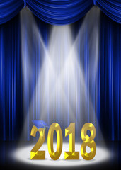 blue stage curtains with gold graduation 2018 text in illuminating spotlight