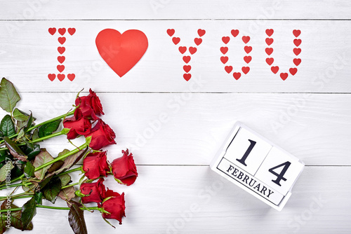 Valentines Day Background With Bouquet Of Red Roses Sign I Love You