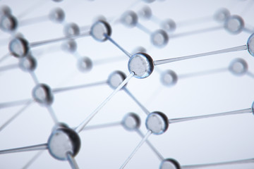 Abstract 3D Rendering of Structure with Spheres,molecule model,science wit background.