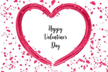 Happy Valentine's day illustration with brush strokes and splashes