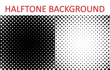 Set of Grunge halftone background. Halftone radial squares.
