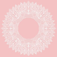 Zenart round frame with pattern from leaves. Lace carved figure on pink background. Pattern suitable for laser cutting, plotter cutting or printing.