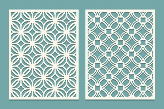 Set of die cut card. Laser cutting panels. Cutout silhouette with geometric pattern. Ornament suitable for printing, engraving, laser cutting paper, wood, metal, stencil manufacturing.