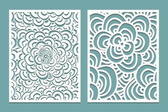 Set of Laser cut pattern panel templates. Wood or paper screen lazer cut template. Cutout silhouette with zentangle pattern.