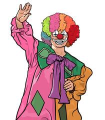 Happy Colorful Clown Waving - Cheerful Illustration, Vector