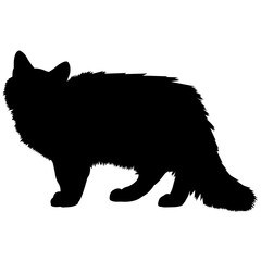 Siberian Cat Silhouette Vector Graphics