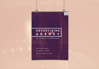 Dark Red Agency Flyer with Digital Clock Elements