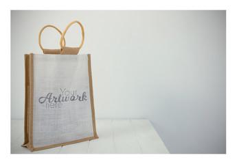 Straw Bag on Table Mockup  1