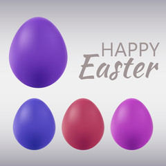 Set of colored eggs on Easter holiday, isolated on gray, vector illustration