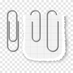 Set of silver metallic realistic paper clip on transparent background.