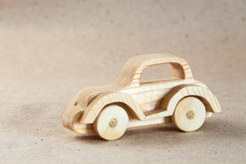 Wooden handmade toy - a car (retro car)
