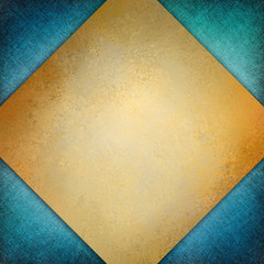 elegant diamond shape gold background with texture on blue corner design, classy template or layout
