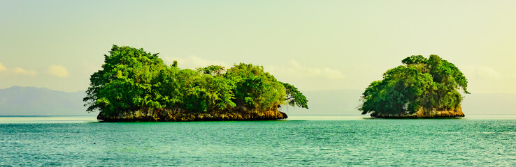 green island in the ocean