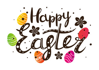 Easter lettering with colored eggs