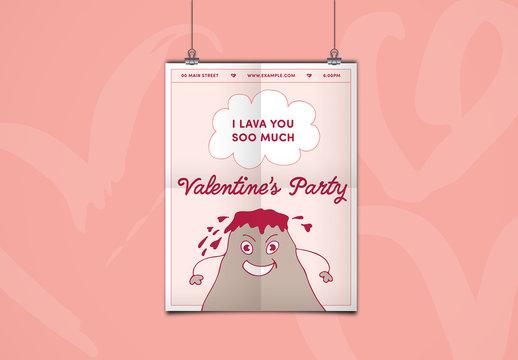 Valentine's Day Flyer with Volcano Illustration