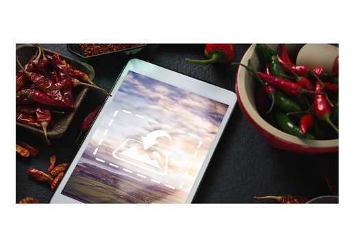 Tablet Mockup with Hot Peppers 1