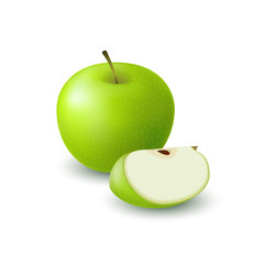 Isolated realistic colored green apple slice and whole juicy fruit with shadow on white background.