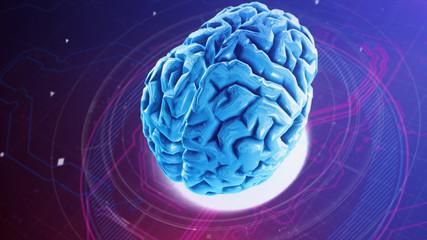 Artificial Intelligence. 3D Render. Artificial neural network. 3d brain. Digital technology background x-ray human brain anatomy. Concept image. Neuron system. Computer brain.