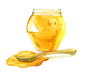 Glass jar of honey, spoon of honey isolated on white background, watercolor illustration