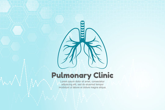 Vector illustration of lungs for pulmonary clinic. Blue medical background with structure molecule and heart beat