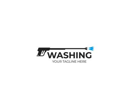 Pressure washing gun logo template. Cleaning vector design. Tools illustration