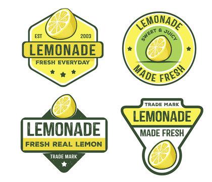 vector design badge, label, logo pack of lemonade beverage, lemon syrup, lemon juice, made fresh and sweet
