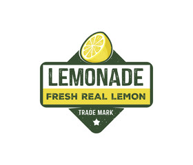 vector design badge, label, logo of lemonade beverage, lemon syrup, lemon juice, made fresh and sweet,