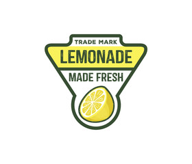 vector design badge, label, logo of lemonade beverage, lemon syrup, lemon juice, made fresh and sweet,