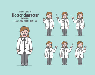 Doctor character (woman) illustration vector on green background. Medical concept.