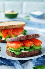 Smoked Salmon Avocado Spinach Rye Sandwich