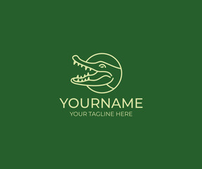 Crocodile line logo template. Alligator vector design. Animal croc illustration