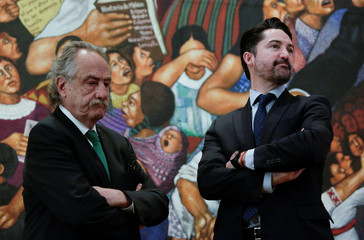 Decio de Maria Serrano, President of the Mexican Football Federation, and Yon de Luisa, Director of the joint bid by Mexico, United States and Canada for the FIFA World Cup 2026, look on before the announcement of the bid in Mexico City