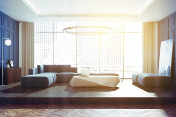 Blue panoramic living room toned