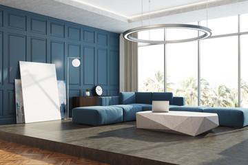 Blue panoramic living room corner poster